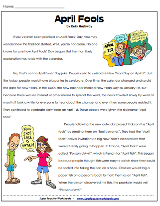 April Fools Reading Worksheets