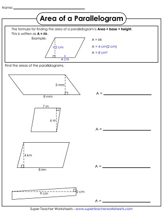 Area of a parallelogram worksheet
