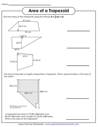 Area of Parallelograms & Trapezoids - Worksheets