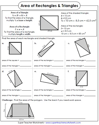 Area of Rectangles: Worksheets
