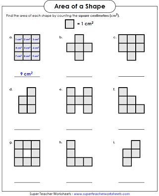Area Counting Squares Worksheets on 3rd grade math area worksheets