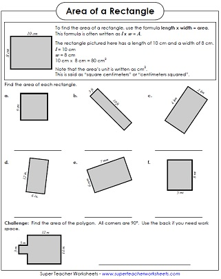 Area Of A Rectangle Worksheet area worksheets