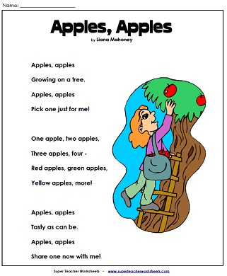 fall reading worksheet - Fall Worksheets For First Grade