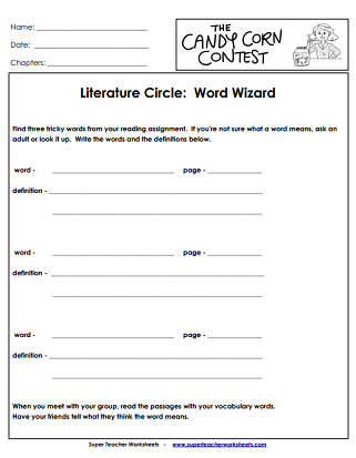 Literacy Unit Book Worksheets