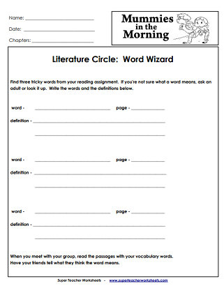 Chapter Book Printable Worksheets