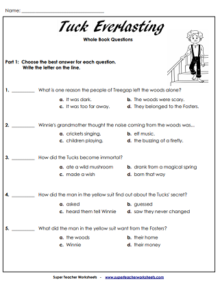 Tuck Everlasting - Printable Worksheets