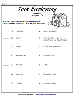 Super Teacher Worksheets | Tuck Everlasting Literacy Unit