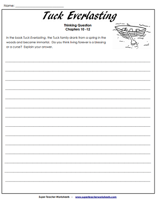 Literacy Unit Worksheets (Tuck Everlasting)