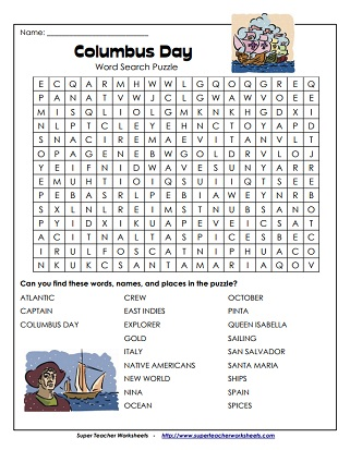 Columbus day worksheets columbus day word search ibookread Download