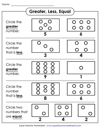 Comparing Numbers 1 Digit