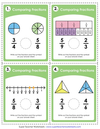 picture regarding Fraction Cards Printable known as Evaluating Purchasing Fractions (Worksheets)