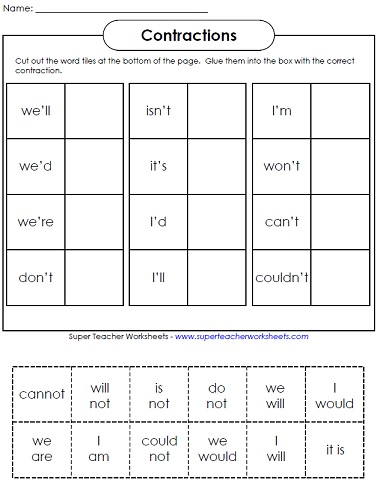 Printables Cut And Paste Worksheets For 2nd Grade contraction worksheets teaching contractions worksheets