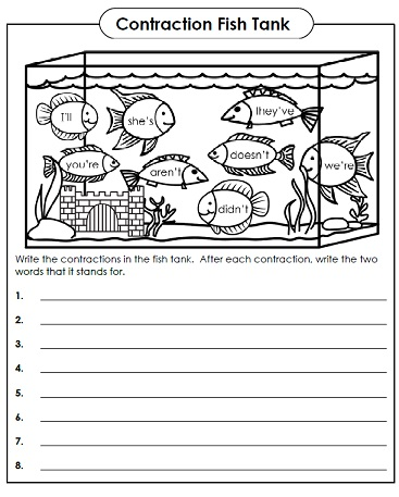 Number Names Worksheets fun phonics worksheets : Contraction Worksheets - Teaching Contractions