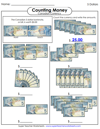Counting Canadian Money Printables