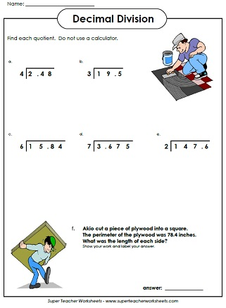 Decimal Division Worksheets
