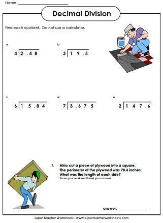 Division Worksheets Grade 5: Super Teacher Worksheets Decimal Division ...