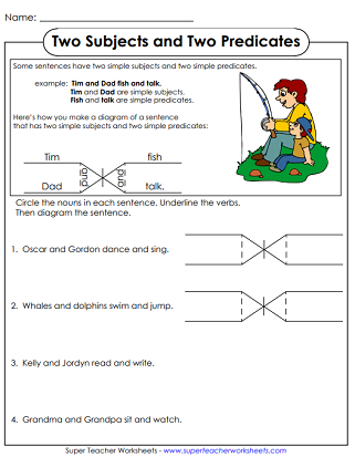 Diagramming sentences printable grammar worksheets diagramming sentences ccuart Image collections