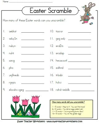 Easter Worksheets. View And Print Your Easter Word Scramble ...