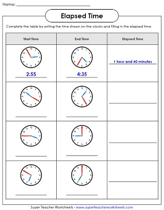 Analog Elapsed Time - Dads Worksheets