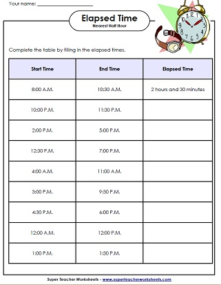 elapsed time activities - Elapsed Time Worksheet