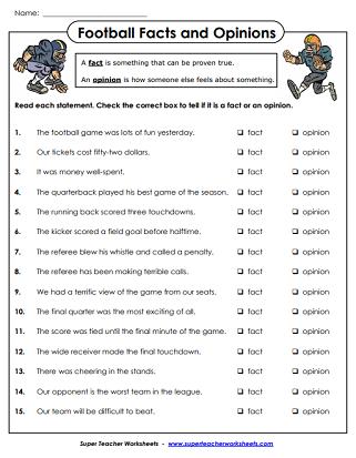 Football Worksheets (Super Bowl)
