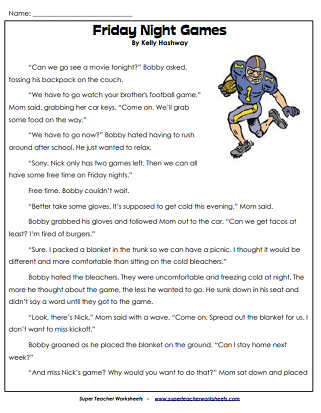 Football Reading Worksheets (Super Bowl)