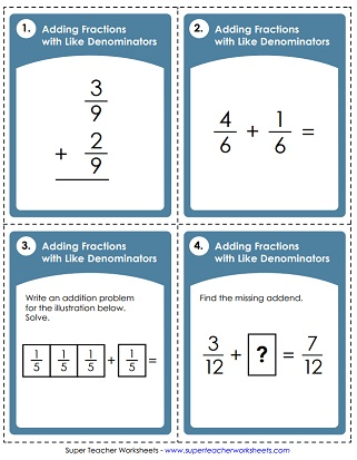Adding Fractions Worksheets Adding Fractions  Same Denominators Adding Fractions Worksheet