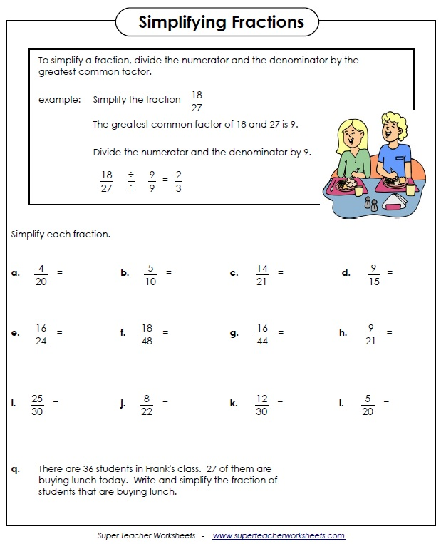 fraction worksheets simplifying fractions worksheet