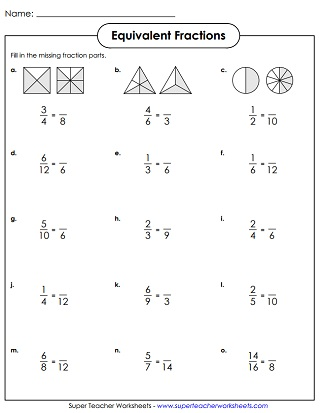 Equivalent Fractions Simplifying Fractions Worksheets