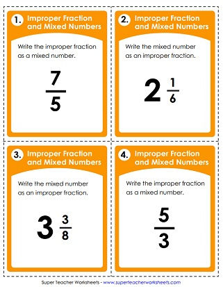 mixed number worksheets mixed number task cards