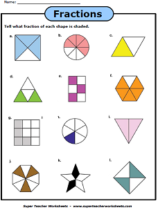 basic fraction worksheets  manipulatives fractions with shapes