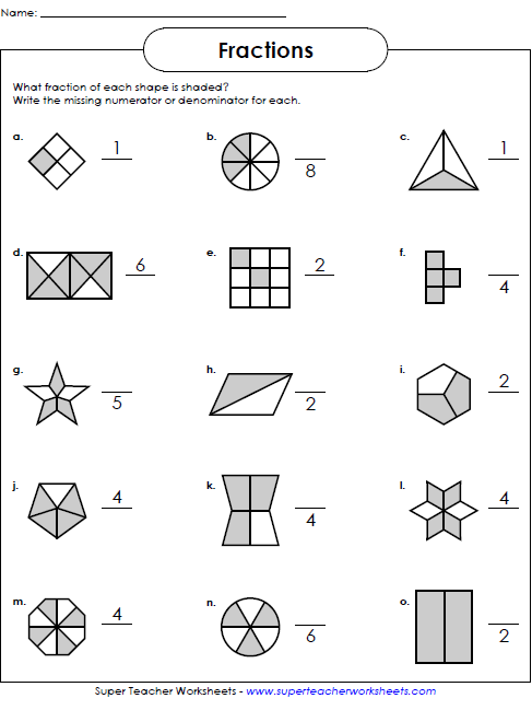 Number Names Worksheets teacher worksheets for free : Basic Fraction Worksheets & Manipulatives