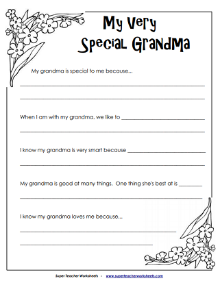 Grandma Worksheet (Grandparent's Day)