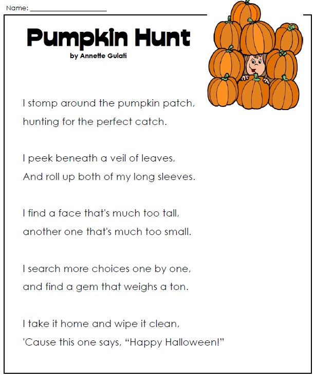 haloween worksheets pumpkin poem