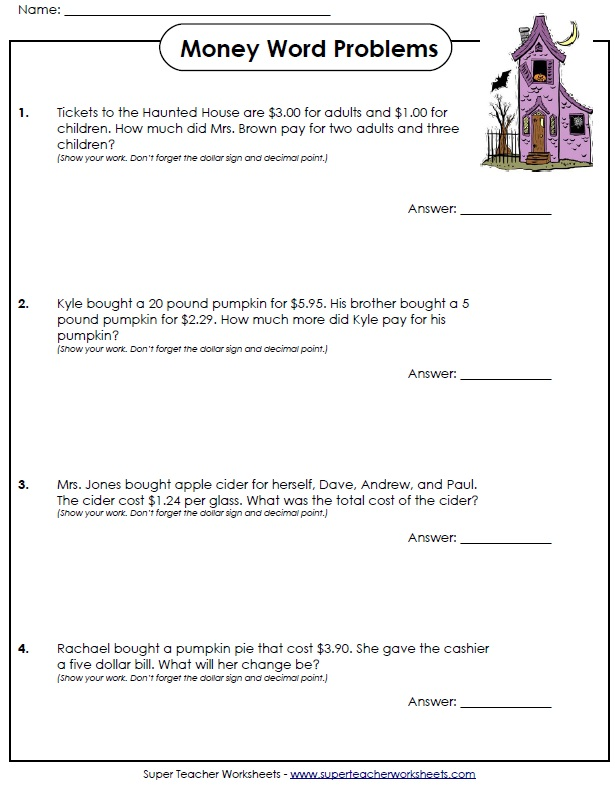 math worksheet : halloween worksheets : Math Worksheets For Grade 4 Word Problems