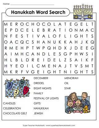 Hanukkah Worksheets (Word Search)