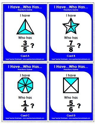 math worksheet : i have  who has quot; games : Fraction Games Worksheets
