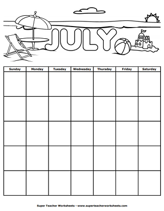 July Calendar Worksheet