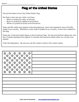Independence Day Worksheets Usa