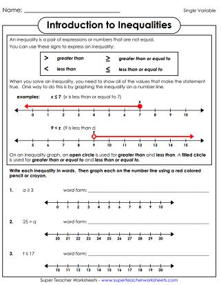 Single Variable Inequalities Worksheets
