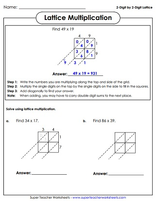 math worksheet : multiplication worksheets : Blank Lattice Multiplication Worksheets