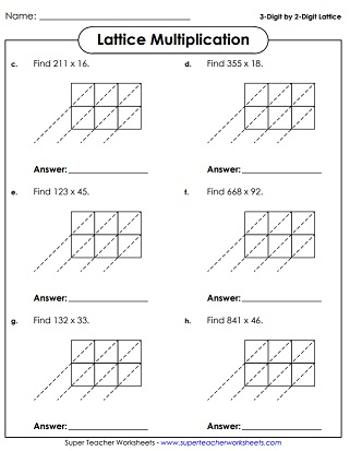 math worksheet : lattice multiplication worksheets : Lattice Multiplication Worksheet
