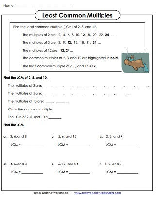 Least Common Multiple Lcm Worksheets
