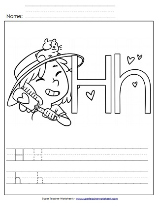 Letter H Worksheets Recognize Trace & Print