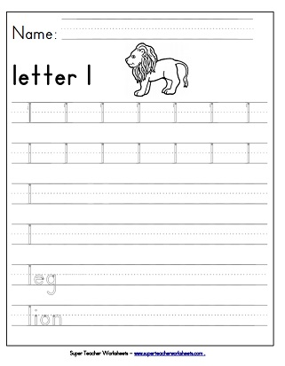 Letter L Worksheets Recognize Trace & Print