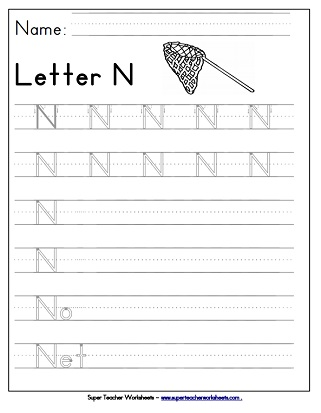 Letter N Worksheets - Recognize, Trace, & Print