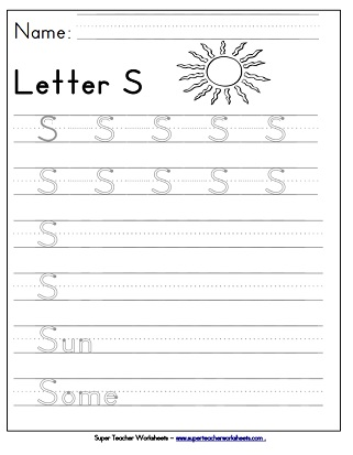 Letter S Worksheets - Recognize, Trace, & Print