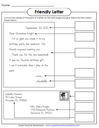 Friendly Letter Worksheets
