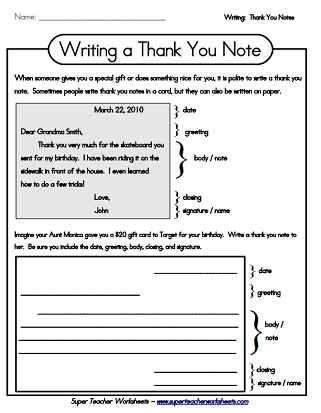 Thank You Note Letter Writing Worksheets