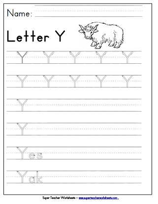 Letter Y Worksheets